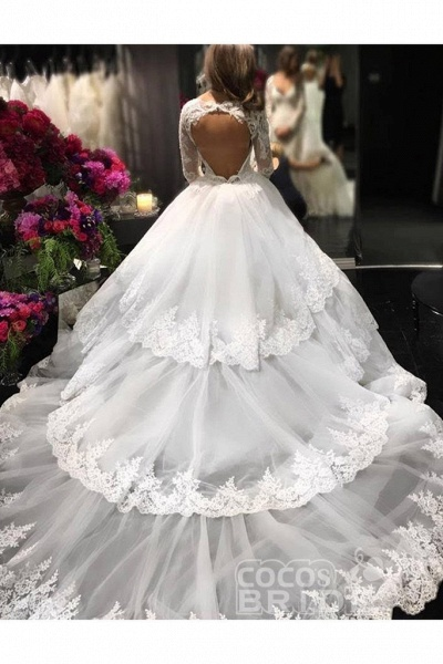 Ivory Deep V-Neck Long Sleeves Lace Appliques Chapel Train Tiered Wedding Dress_3