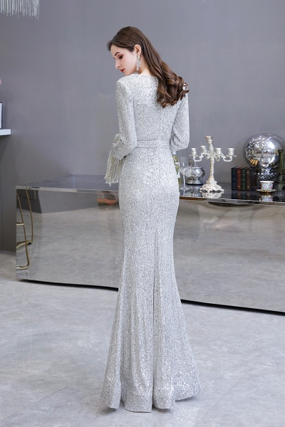 Gorgeous Sequins Long Sleeve V-Neck Mermaid Evening Gowns_7