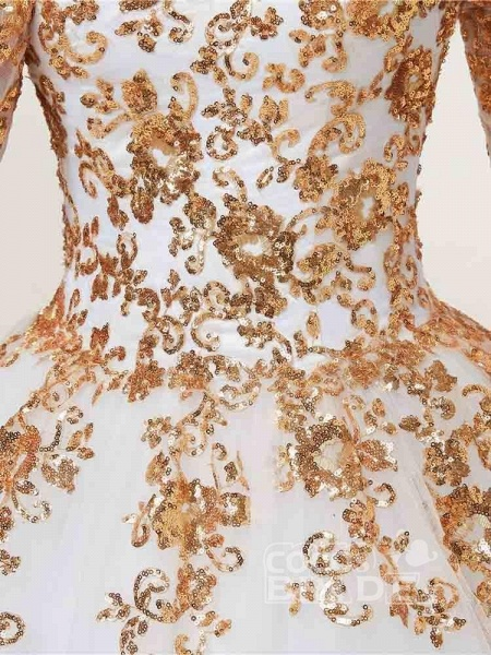 Golden Jewel Long Sleeve Ball Gown Wedding Dresses_6