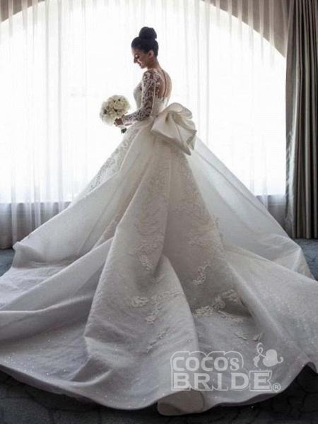Long Sleeves Lace Mermaid Wedding Dresses_4
