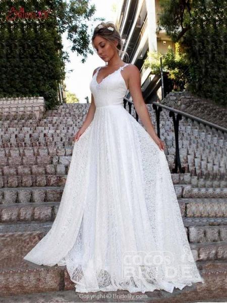 Glamorous V-Neck Backless Lace A-Line Wedding Dresses_3