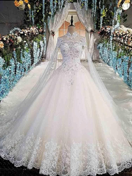 Luxury High Neck Lace Ball Gown Wedding Dresses_1