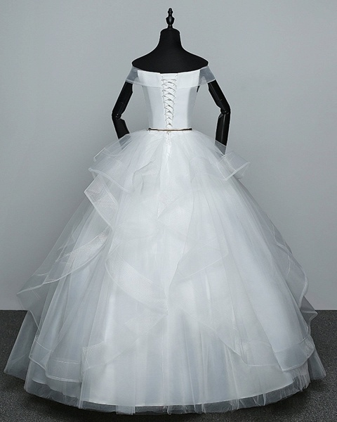 White Tulle Off Shoulder Layered Wedding Dress With Belt_3