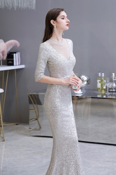Gorgeous Silver Long sleeves Long Prom Dress_6