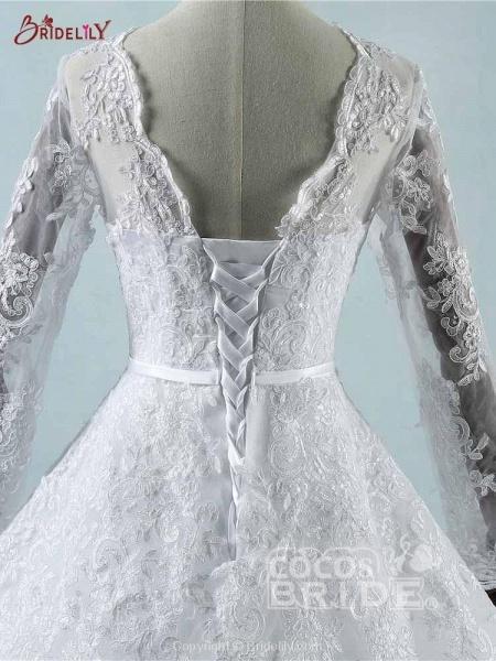 Elegant Long Sleeves Corset lace up Wedding Dresses_4