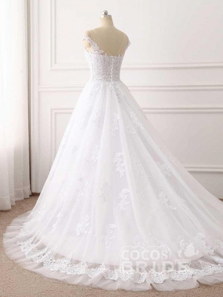 Lace Appliques Ball Gown Wedding Dresses_4