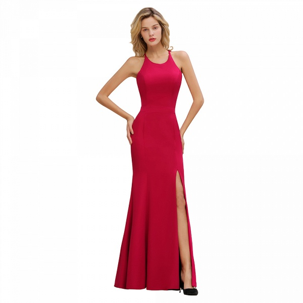 Red Mermaid Halter Prom Dress Long Evening Gowns_9