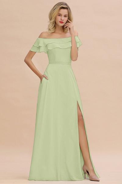 BM0775 Off-the-Shoulder Front Slit Mint Green Long Bridesmaid Dress_35