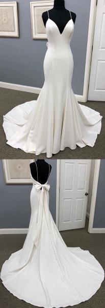 Ivory Satin Spaghetti Straps Open Back Sweet Train Wedding Dress_3