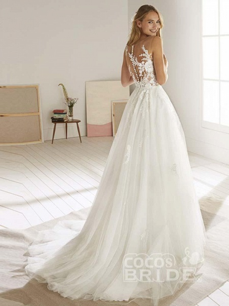 Romatic Lace Tulle Wedding Dresses_4