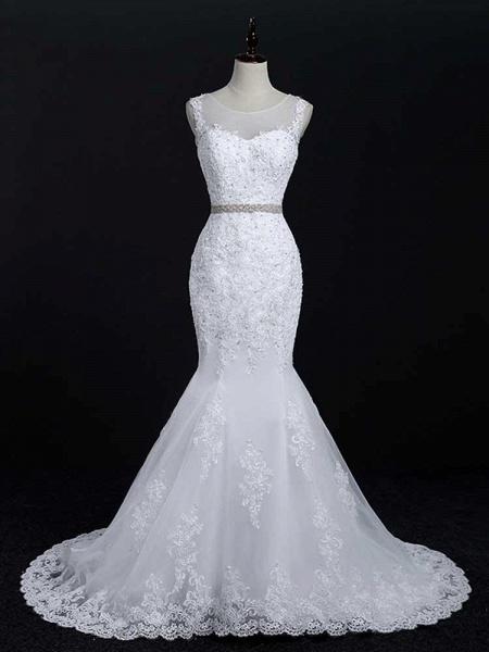Lace Sashes Mermaid Wedding Dresses_1