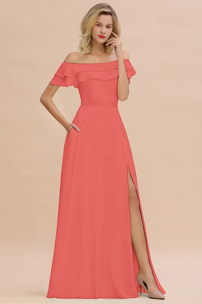 BM0775 Off-the-Shoulder Front Slit Mint Green Long Bridesmaid Dress_7