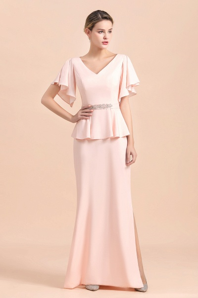 Glamorous V-Neck Beadings Sash Pink Mother of Bride Dresses