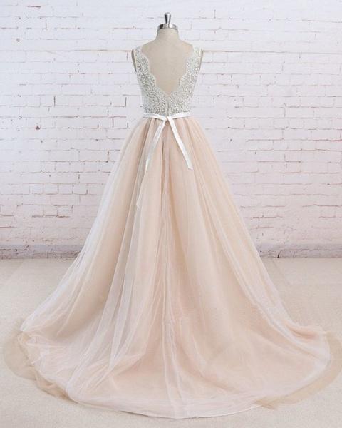 Blush Pink Tulle Ivory Lace V Neck Vintage Wedding Dress_2