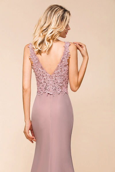 Dusty Pink Mermaid Lace Long Sleeveless Evening Gowns_7