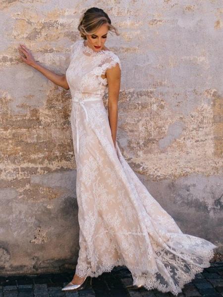 Boho Chic A Line Cap Sleeve Lace Wedding Dresses_1