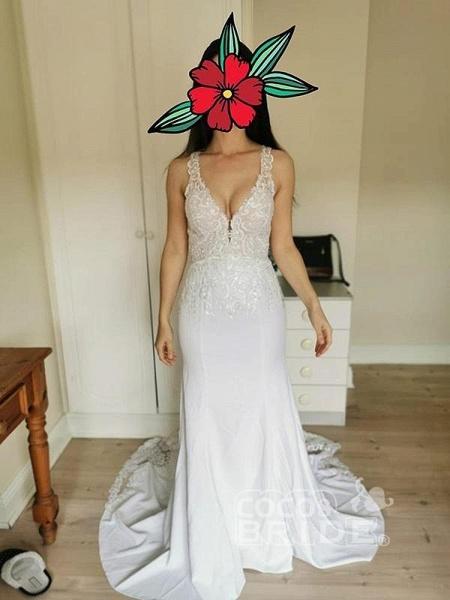V-Neck Lace Mermaid Wedding Dresses_2