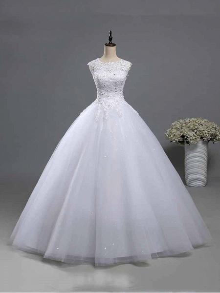 Elegant Beads Lace-Up Ruffles Wedding Dresses_1