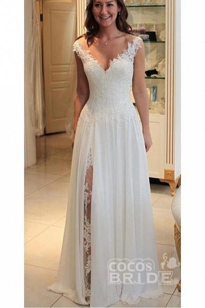 A Line Chiffon Beach Long Flowy Lace Wedding Dress_2