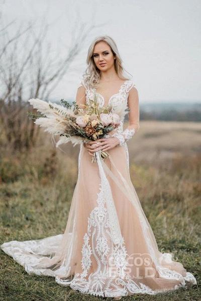 Amazing Long Sleeves Boho Lace Appliques Wedding Dress_4