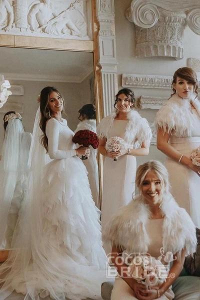 A-Line Sweep Train Tulle Long Sleeves Beach Wedding Dress_10