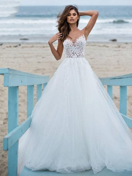 Elegant Lace Covered Button Ball Gown Wedding Dresses_1