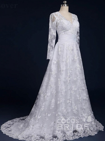 Elegant V-Neck Long Sleeves Covered Button Lace Wedding Dresses_3