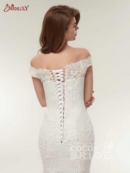Off-The-Shoulder Bateau Mermaid Wedding Dresses_6
