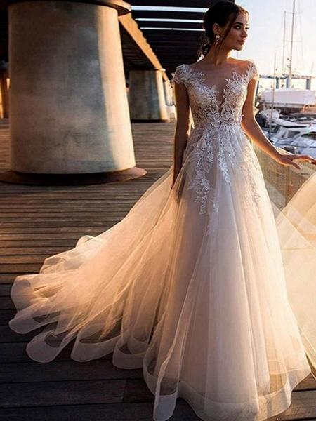 O-Neck Appliques Lace A-Line Wedding Dresses_1