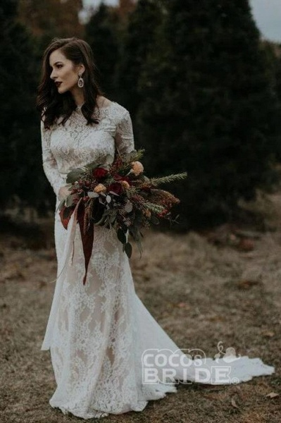 Vintage Long Sleeves Backless Rustic Lace Wedding Dress_5