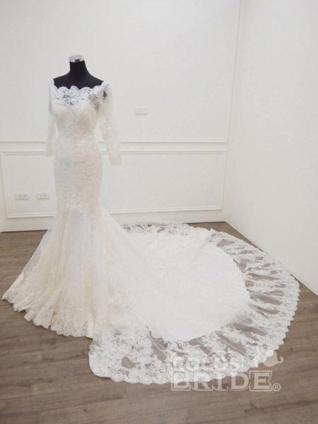 Modest Long Sleeves Sweep Train Lace Mermaid  Wedding Dresses_3