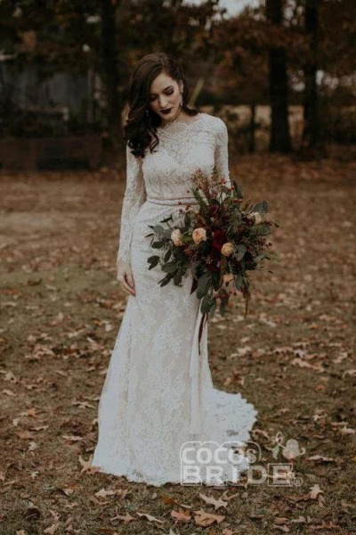 Vintage Long Sleeves Backless Rustic Lace Wedding Dress_6