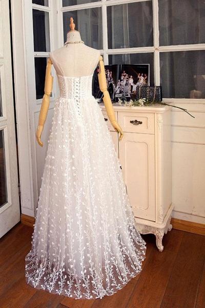 Sweetheart Long Spaghetti Straps Wedding Dress_5