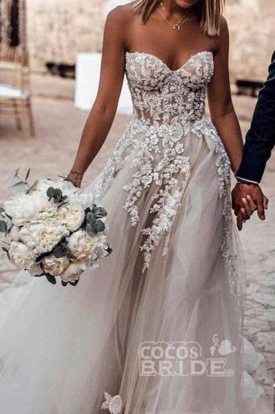 Boho Sweetheart Tulle Long Beach Charming Appliques Wedding Dress_4