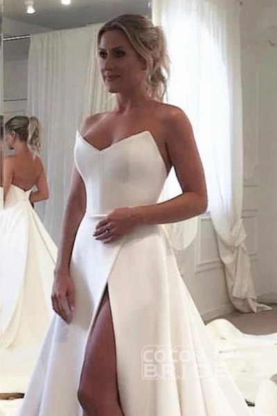 Strapless Bodice Corset Leg Slit Satin Backless Long Wedding Dress_3