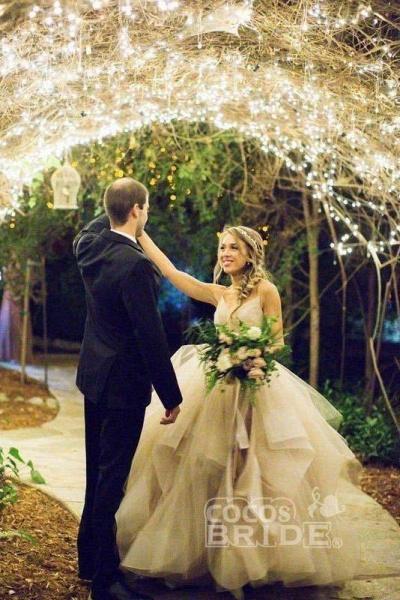 Puffy Spaghetti Straps V Neck Backless Asymmetrical Light Pink Long Wedding Dress_4