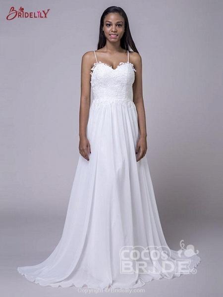 Modest Spaghetti-Strap A-Line Ruffles Wedding Dresses_3