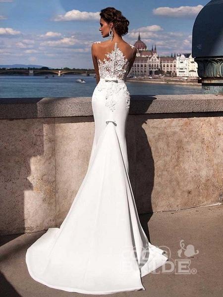 Popular Appliques Sweep Train Mermaid Wedding Dresses_3