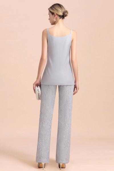 V-Neck Straps Appliques Silver Lace Wraps Mother of Bride Jumpsuit_10