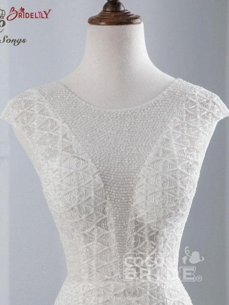 Elegant Cap Sleeves Lace-up Mermaid Wedding Dresses_4
