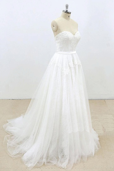 Sweetheart White Tulle Strapless Lace Wedding Dress_2