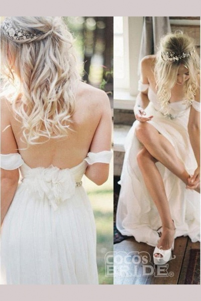 Simple Off the Shoulder Beach with Beading Waist Ivory Wedding Dress_4