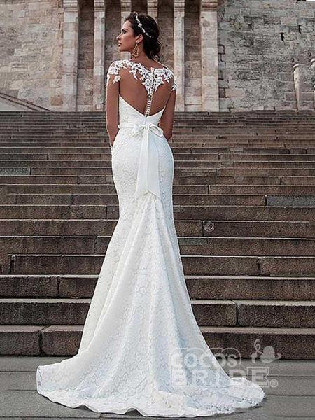 Glamorous Long Sleeves Lace Bowknot Mermaid Wedding Dresses_2