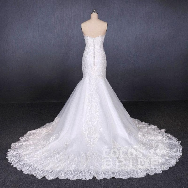 Sweetheart Long Strapless Mermaid Lace Wedding Dress_2