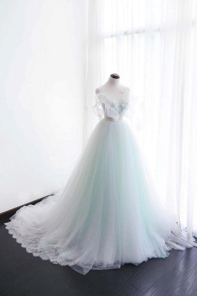 White Tulle Long Scoop Neckline Wedding Dress_1