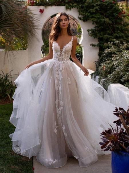 Fashion Spaghetti Strap Backless Boho Wedding Dresses_1