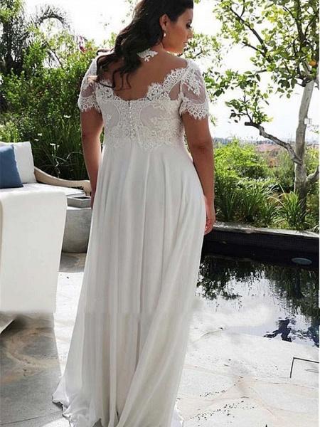 Modest Half-Sleeves V-Neck Lace Ruffles Wedding Dresses_1