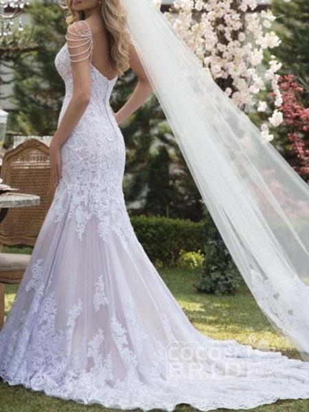 Gorgeous V-Neck Lace Mermaid Wedding Dresses_2