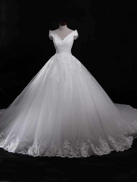 Gorgeous V-Neck Lace Tulle Ball Gown Ruffles Wedding Dresses_1