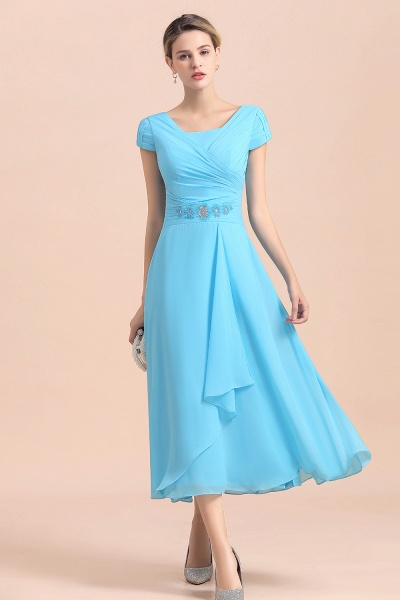 Blue Short Sleeves Chiffon Ruffles Tea-length Mother of the Bride Dress